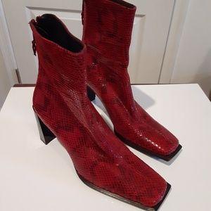 Stuart Weitzman Red Python Snakeskin Boots